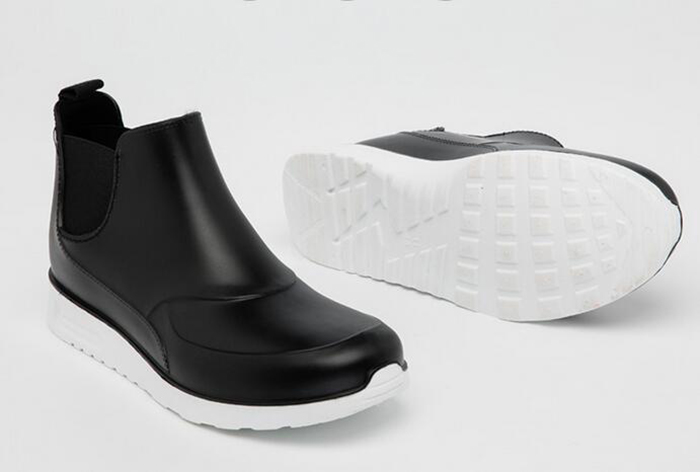 Black unisex style waterproof fashion ankle pvc boots