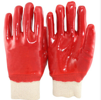 Knit wrist red PVC gloves