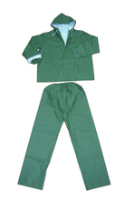 5101 green waterproof pvc polyester rainsuit