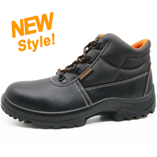 ENS028 black leather european work shoes with steel toe cap