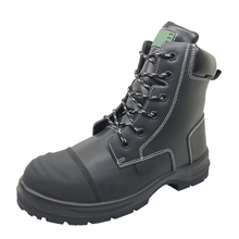 ENS015 High ankle steel toe leather work safety boot with zipper