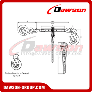 DS832 Non-Standard Ratchet Binder with Hook for Lashing