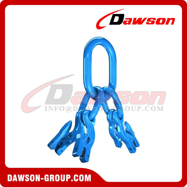 G100 / Grade 100 Master Link Assembly + G100 Eye Grab Hook with Clevis Attachment for Adjust Chain Length × 4