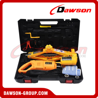 12V DC 2T or 3T 35CM Electric Scissor Jack with Electric Impact Wrench Suit