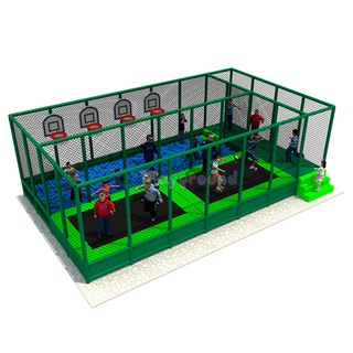 Customized Amusement Trampoline Park with Ball Pit and Basketball Hoop