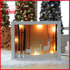 Forest Deer Scene Blown Glass Wall Decoration with Plastic Frame Shadow Box Frames Wholesale