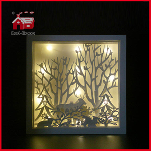 Glass Frame Christmas Scene LED Glass Decoration with Plastic Frame Shadow Box LED Frame Decoration