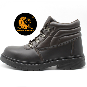 Cemented Construction Brown Leather Safety Boots Steel Toe