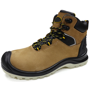 Abrasion Resistant Rubber Sole Genuine Leather Safety Men Boots for Work