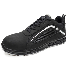 Black genuine leather non slip metal free safety work shoes composite toe