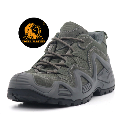 Grey Suede Leather Anti Slip Outdoor Climbing Sport Hiking Shoes Lightweight