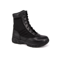 black full leather police tactical boot