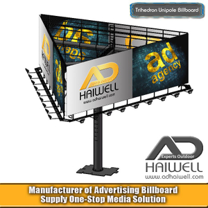 Trihedron Unipole Outdoor Billboard Advertising Structure