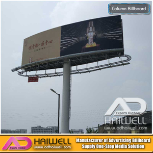 Two-Sided Outdoor Arc Shape Advertising Unipole Column Billboard