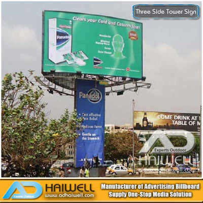 Arc Shape Frontlit Unipole Advertising Billboard Display