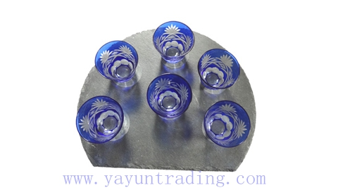 made in China handmade embossed cobalt blue glass tea cup