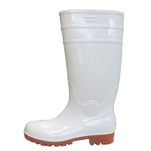 White Food Industry Water Proof Steel Toe Cap Anti Slip Pvc Glitter Safety Rain+boots