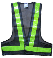 Black mesh reflective safety vest