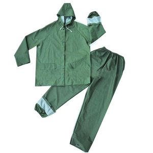 Waterproof green pvc/polyester plastic rainsuit for workers