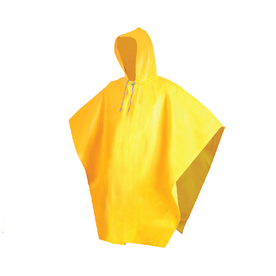 Waterproof yellow hooded poncho raincoat for men