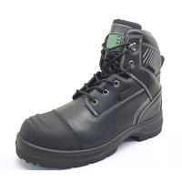 ENS014 High ankle black leather safety boot steel toe