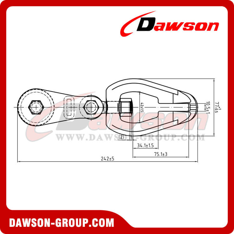 Drawing of DS930 G80 Swivel Connecor with Roller Sheave for Forestry Logging
