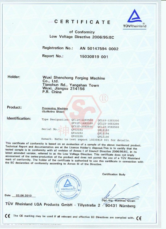 Ce Certificate Cnc Hydraulic Press Brake Shenchong