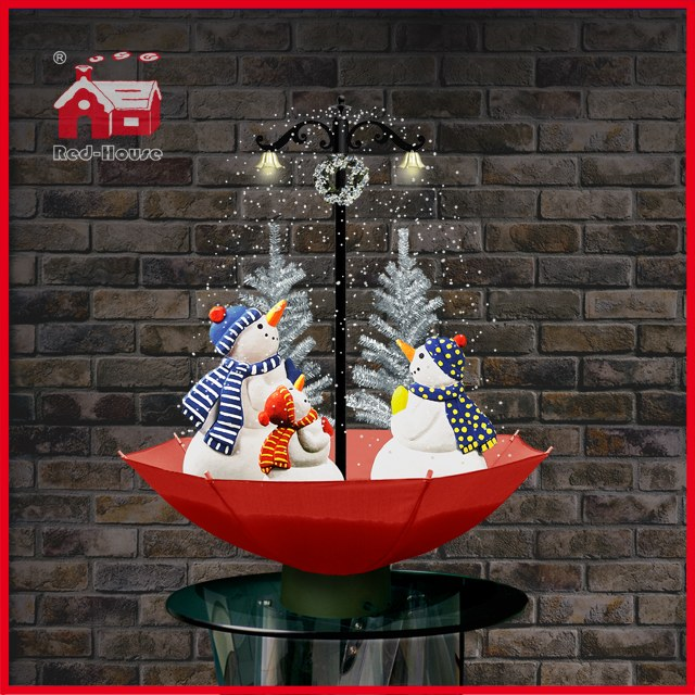 (118030U075-3S-RW) Snowing Christmas Decorations with Umbrella Base