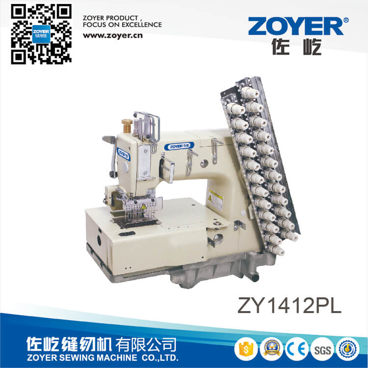 ZY 1412PL Zoyer 12-needle flat-bed double chain stitch sewing machine (for attaching line tapes)