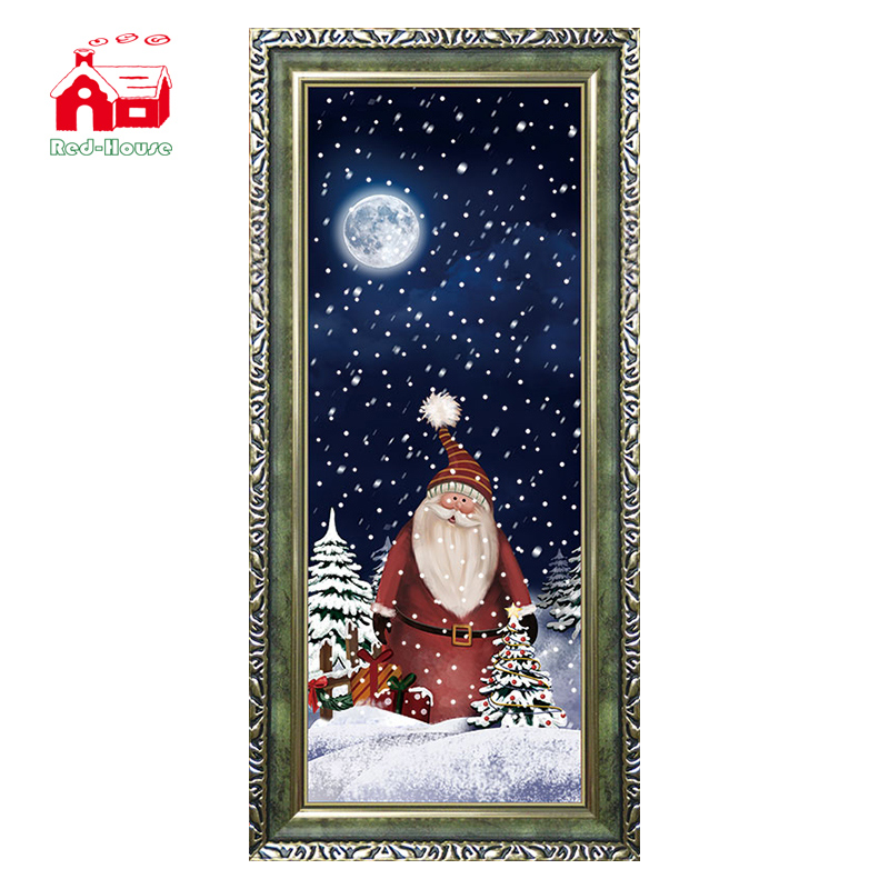 (WP080S1-GSG)Christmas Wall Plaque with Plastic Frame and Led Lighting