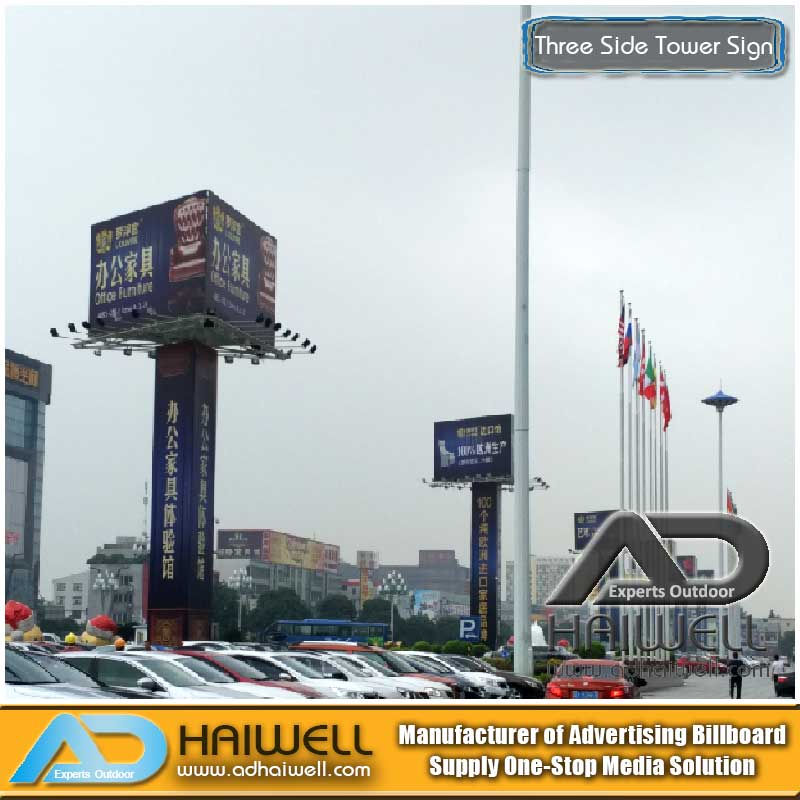 Frontlit Three Sided Tower Signs Advertising Board (W10 X H6m)