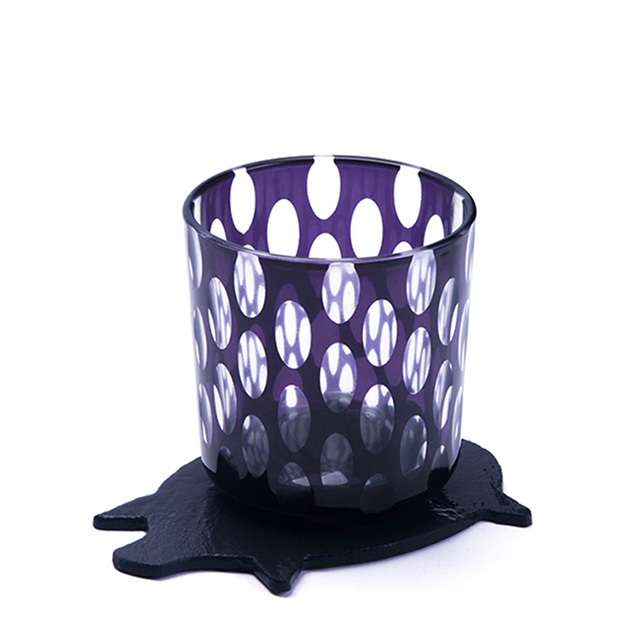hand cut purple glass tumbler on piggy slate placemat