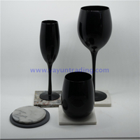 Classical Pure Black Egg Shape Glass Wine Cup with Stone And Slate Cup Mats