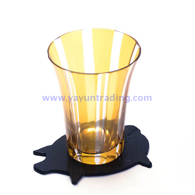 piggy slate coaster with elegant cut horn glass tumbler