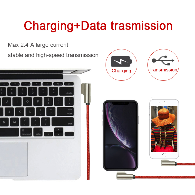 Charging+Data Double 90° Elbow USB Cable for IOS