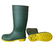 Green upper yellow sole safety pvc rain boots