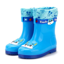 585 blue kids winter rain boots with fur lining