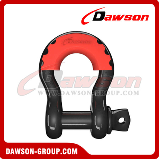 Dawson Drop Forged Bow Shackle with PU Protection for Towing & Recovery Strap, S6 Screw Pin Anchor Shackles