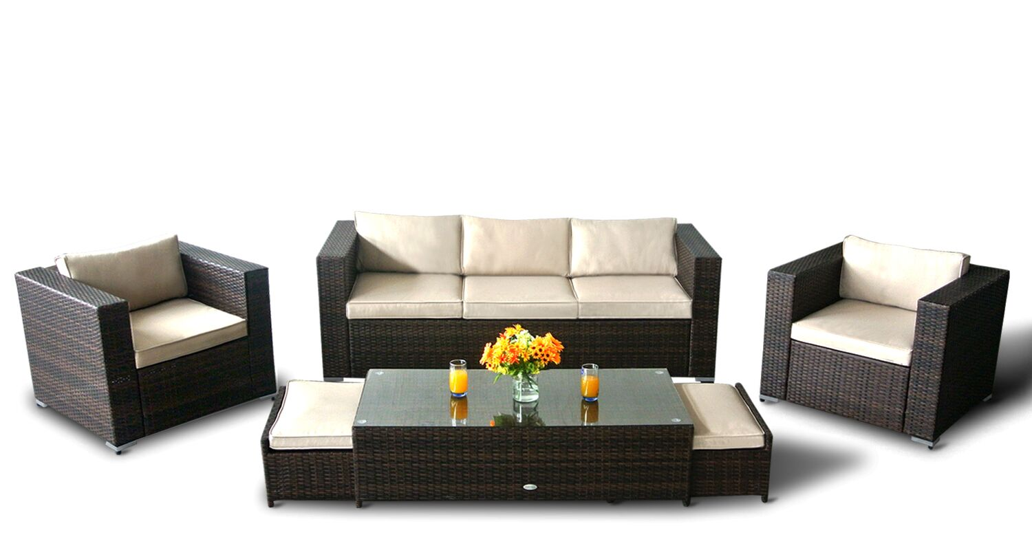 3 seater patio rattan 6pcs sofa set in chocolate and creamfree outdoor cover