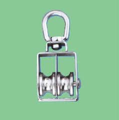 S/S SWIVEL EYE PULLEY WITH FLAT SHOULDER AND DOUBLE WHEEL