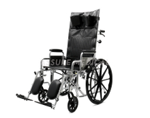 YJ-011F Steel manual wheelchair, Reclining Wheelchair, Chrome and Foldable ()