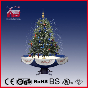 (40110U120-BS) Xmas Ornament Decoration Snowing Christmas Tree with Umbrella Base