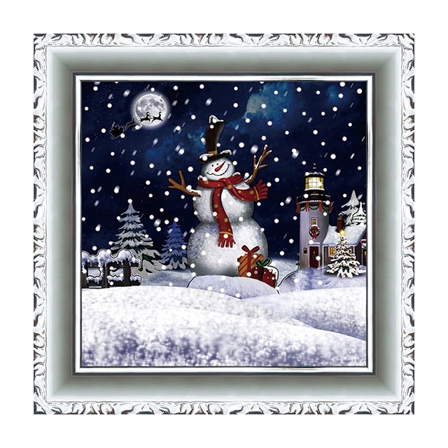 (WP038S1-WSW) Snowing Wall Art Christmas Gifts with Different Designs Inside and Music for House Decorating