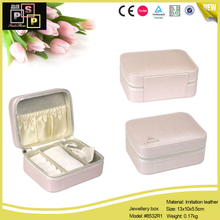 Cream Color PU leather Zipper Gift Jewellery Box