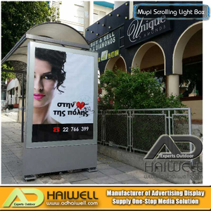 Outdoor Advertising Aluminum Bus Shelter with Mupi Static LED Light Box