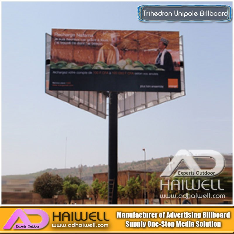High-Way Trihedron Unipole Advertising Billboard Construction on Sale