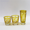 square amber colored engraved drinking beer wine glass tumbler