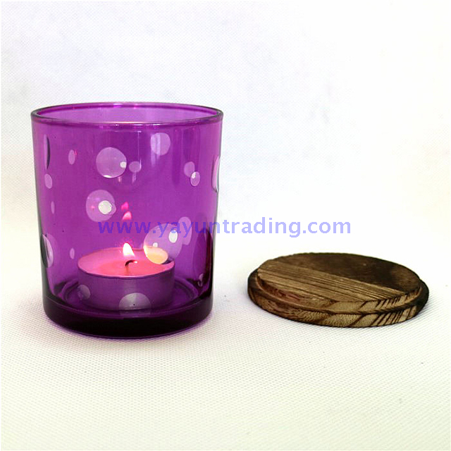 purple flat bottom hand painted luxury glass candle holder