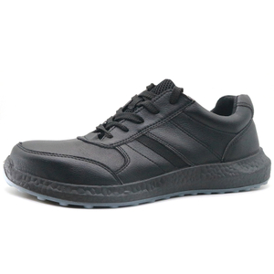 Black microfiber leather TPU sole safety work shoes steel toe cap