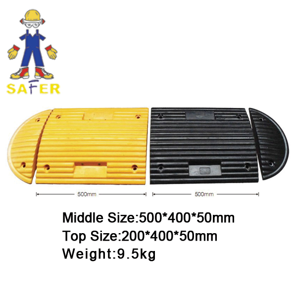 rubber speed hump used in parking area